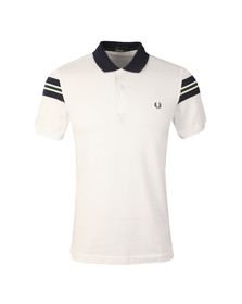 Fred Perry Mens White S/S Bomber Sleeve Polo