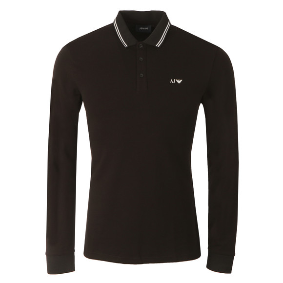 Armani Jeans Mens Black 8N6F36 Tipped Long Sleeve Polo Shirt main image