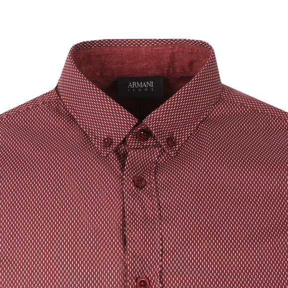 Armani Jeans Mens Red Regular Fit  Patterned Shirt main image