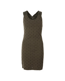 Superdry Womens Green Schiffli Knotty Bodycon Dress