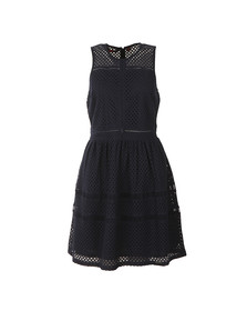 Superdry Womens Blue Geo Lace Mix Skater Dress