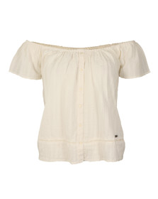 Superdry Womens White Marina Bardot Button Top