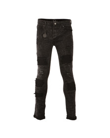 Project X Paris Mens Black Ripped Biker Jean