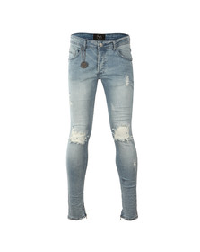 Project X Paris Mens Blue Ripped Biker Jean