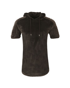 Project X Paris Mens Grey Pleat Velour Short Sleeve Hoody