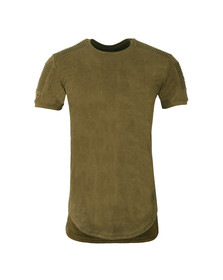 Project X Paris Mens Green Suede Ribbed T Shirt