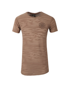 Scar Tissue Mens Brown Stripe Curved Hem T Shirt