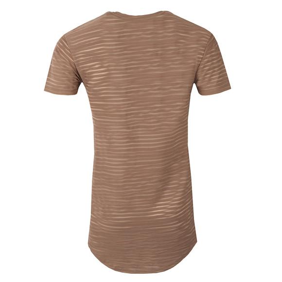 Scar Tissue Mens Brown Stripe Curved Hem T Shirt main image