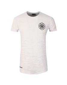 Scar Tissue Mens White Stripe Curved Hem T Shirt