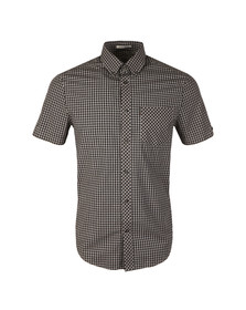 Ben Sherman Mens Grey S/S Core Gingham Shirt