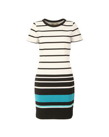 Michael Kors Womens White Stripe Ottoman T Shirt Dress