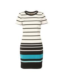 Michael Kors Womens White Stripe Ottoman T Shirt Dress