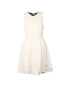 Superdry Womens White Geo Lace Mix Skater Dress