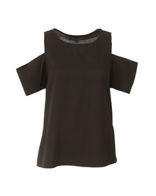 French Connection Womens Black Classic Crepe Light Cut Out Top