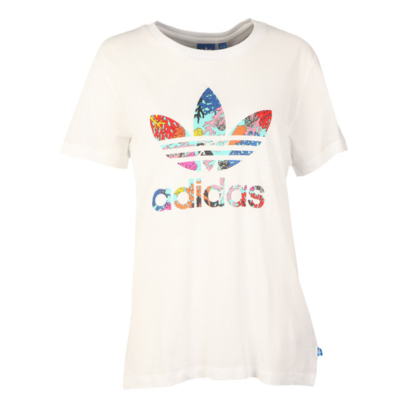 Adidas Originals Womens White Coral Graphic T Shirt main image