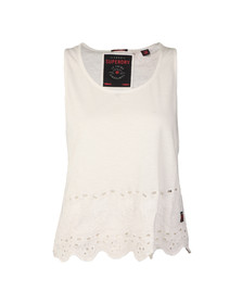 Superdry Womens White Beach Broiderie Shell Top
