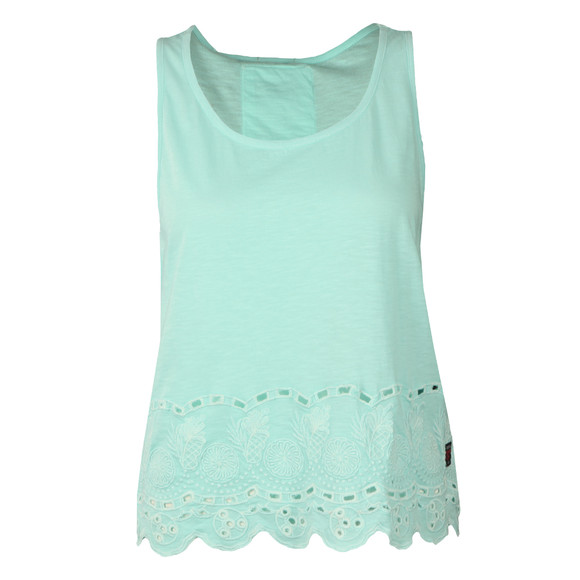 Superdry Womens Blue Beach Broiderie Shell Top main image