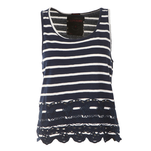 Superdry Womens Blue Shore Broderie Shell Top main image