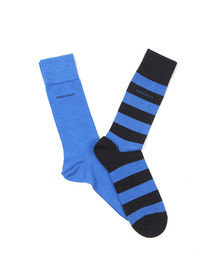 Boss Mens Blue 2 Pack Stripe & Plain Socks