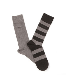 Boss Mens Black 2 Pack Stripe & Plain Socks