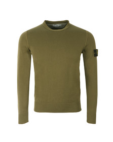 Stone Island Mens Green Fine Cotton Crew Neck Jumper