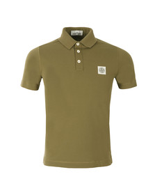 Stone Island Mens Green Washed Patch Polo Shirt