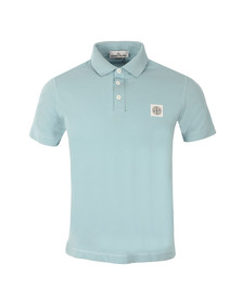 Stone Island Mens Blue Washed Patch Polo Shirt