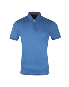 Ted Baker Mens Blue Charmen SS Flat Knit Collar Polo