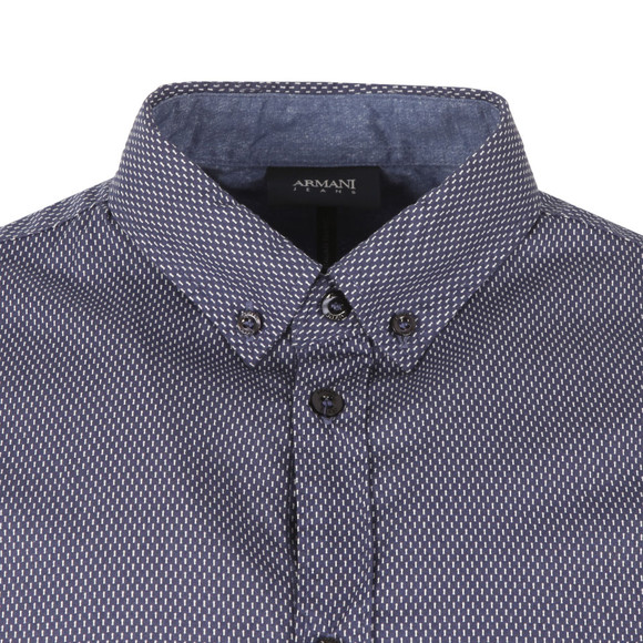 Armani Jeans Mens Blue Regular Fit  Patterned Shirt main image