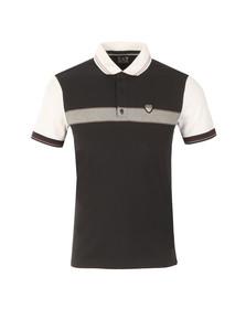 EA7 Emporio Armani Mens Blue Shield Logo Stripe Polo Shirt