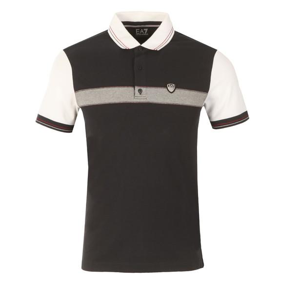 EA7 Emporio Armani Mens Blue Shield Logo Stripe Polo Shirt main image