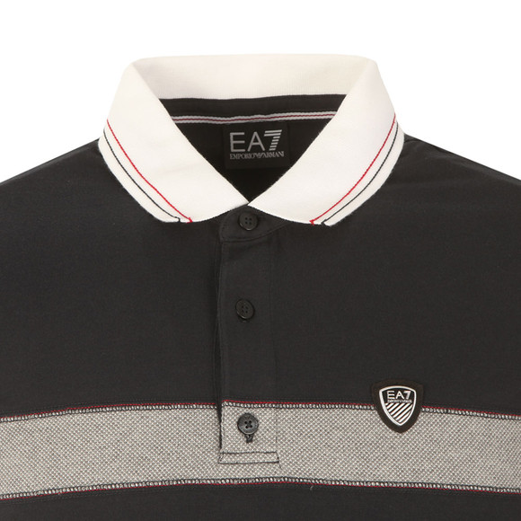 EA7 Emporio Armani Mens Blue Shield Logo Stripe Polo Shirt main image