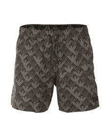 EA7 Emporio Armani Mens Black Patterned Swim Short