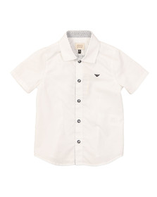 Armani Junior  Boys White Short Sleeve Plain Shirt