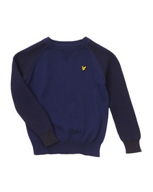Lyle And Scott Junior Boys Blue Crew Neck Rib Sleeve Jumper