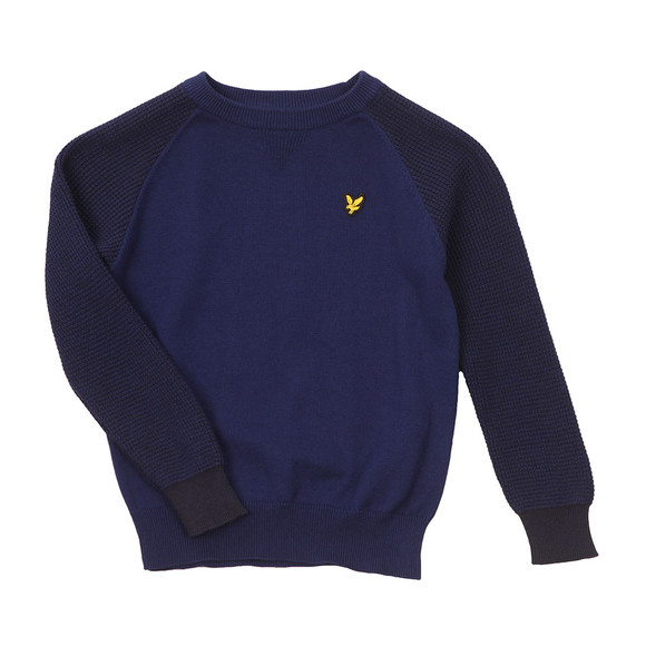 Lyle And Scott Junior Boys Blue Crew Neck Rib Sleeve Jumper main image
