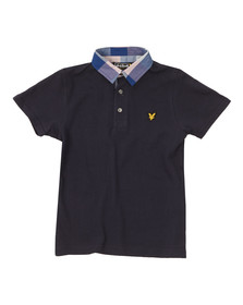Lyle And Scott Junior Boys Blue Check Collar Polo Shirt