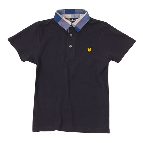 Lyle And Scott Junior Boys Blue Check Collar Polo Shirt main image