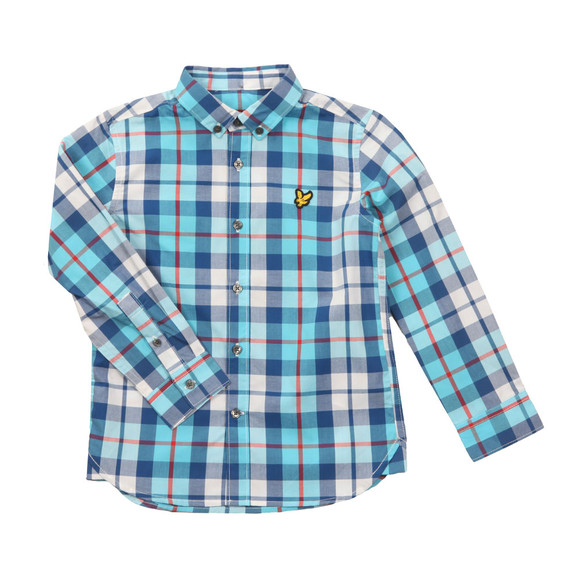 Lyle And Scott Junior Boys Blue Poplin Big Check Shirt