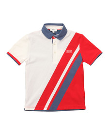 Boss Boys White J25A69 Slash Polo Shirt
