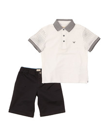 Armani Junior  Boys White Polo & Short Set