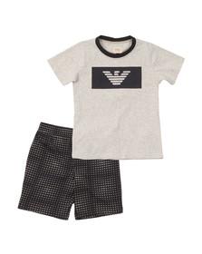 Armani Junior  Boys Grey Chest Logo T Shirt & Short Set