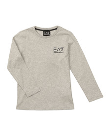 EA7 Emporio Armani Boys Grey Small Logo Long Sleeve T Shirt
