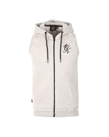 Gym king Mens White Sleeveless Hoody