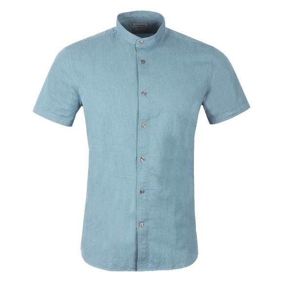J.Lindeberg Mens Blue Daniel Linen Denim Short Sleeve Shirt