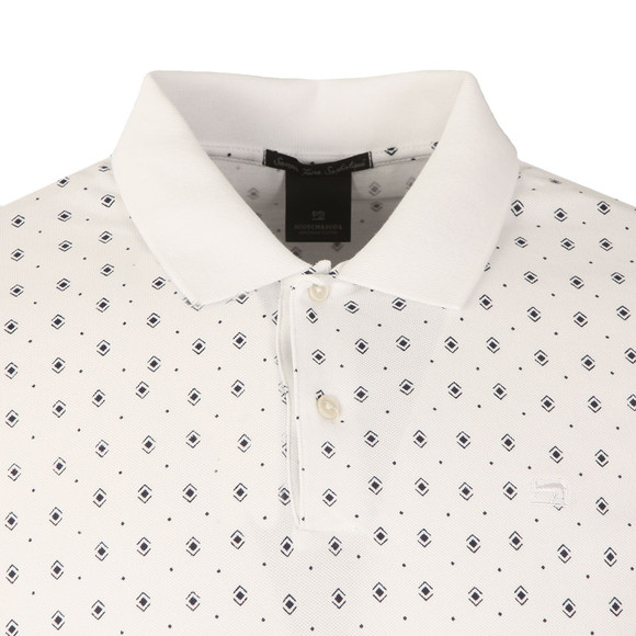 Scotch & Soda Mens White All Over Print Polo Shirt main image
