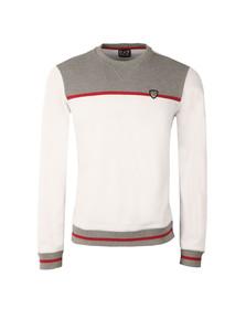 EA7 Emporio Armani Mens White Contrast Shield Logo Sweat