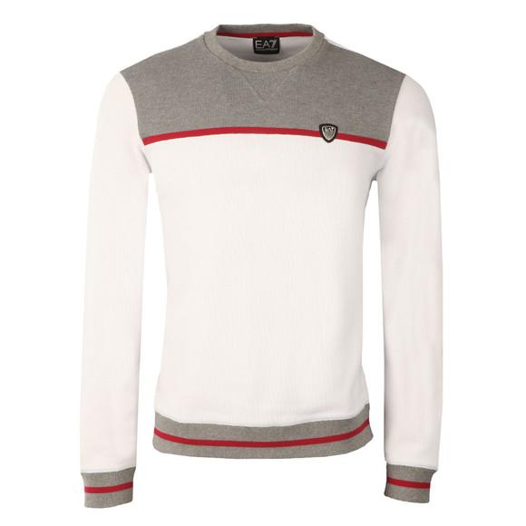 EA7 Emporio Armani Mens White Contrast Shield Logo Sweat main image