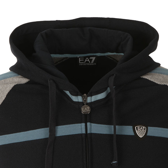 EA7 Emporio Armani Mens Blue Contrast Shield Logo Full Zip Hoody main image
