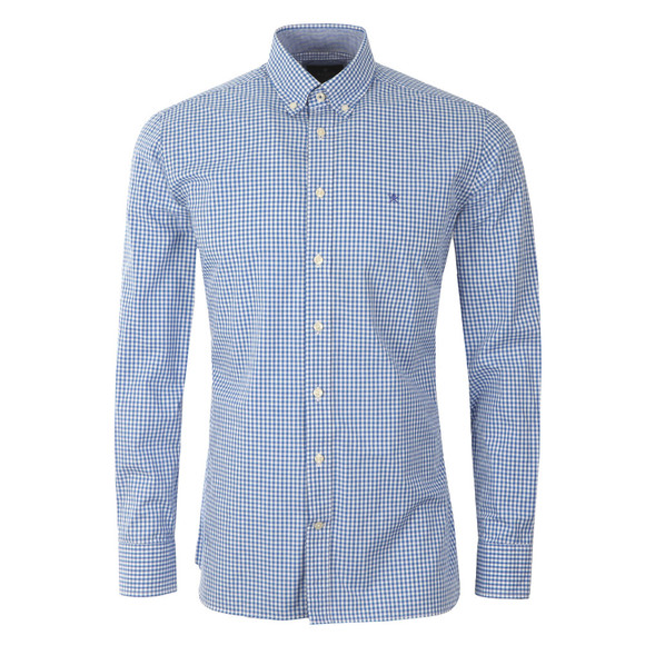 Hackett Mens Blue LS Gingham Tri Logo Shirt main image